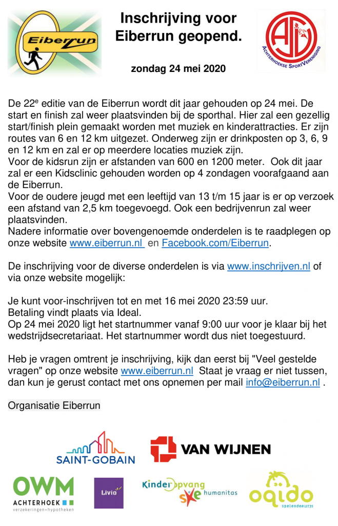 Eiberrun - Inschrijving voor Eiberrun geopend